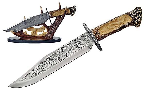 Engraved Eagle Knife With Simulated Antler Handle and Stand