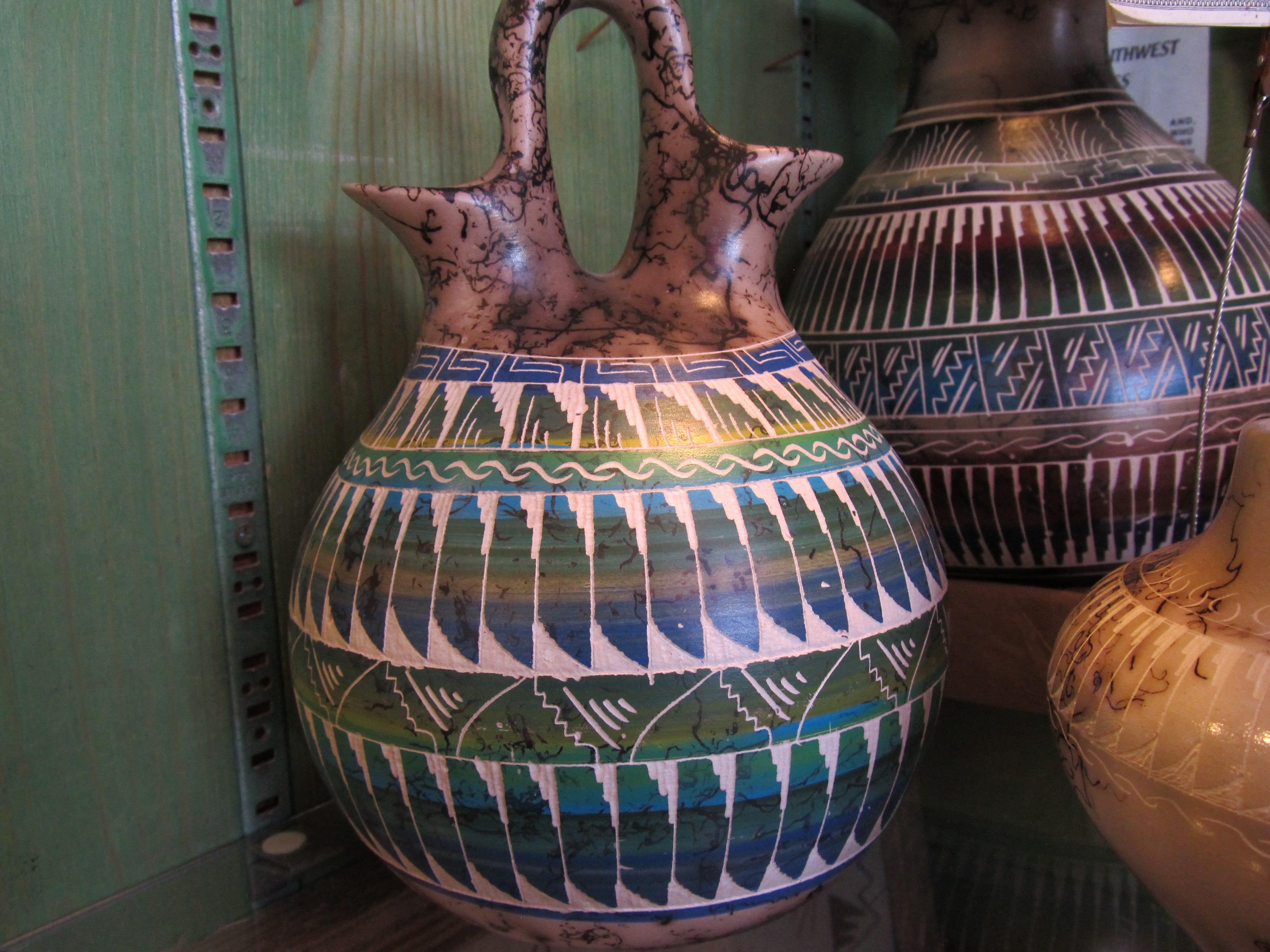 Navajo Ceramics Horse Hair Wedding Vase Etched
