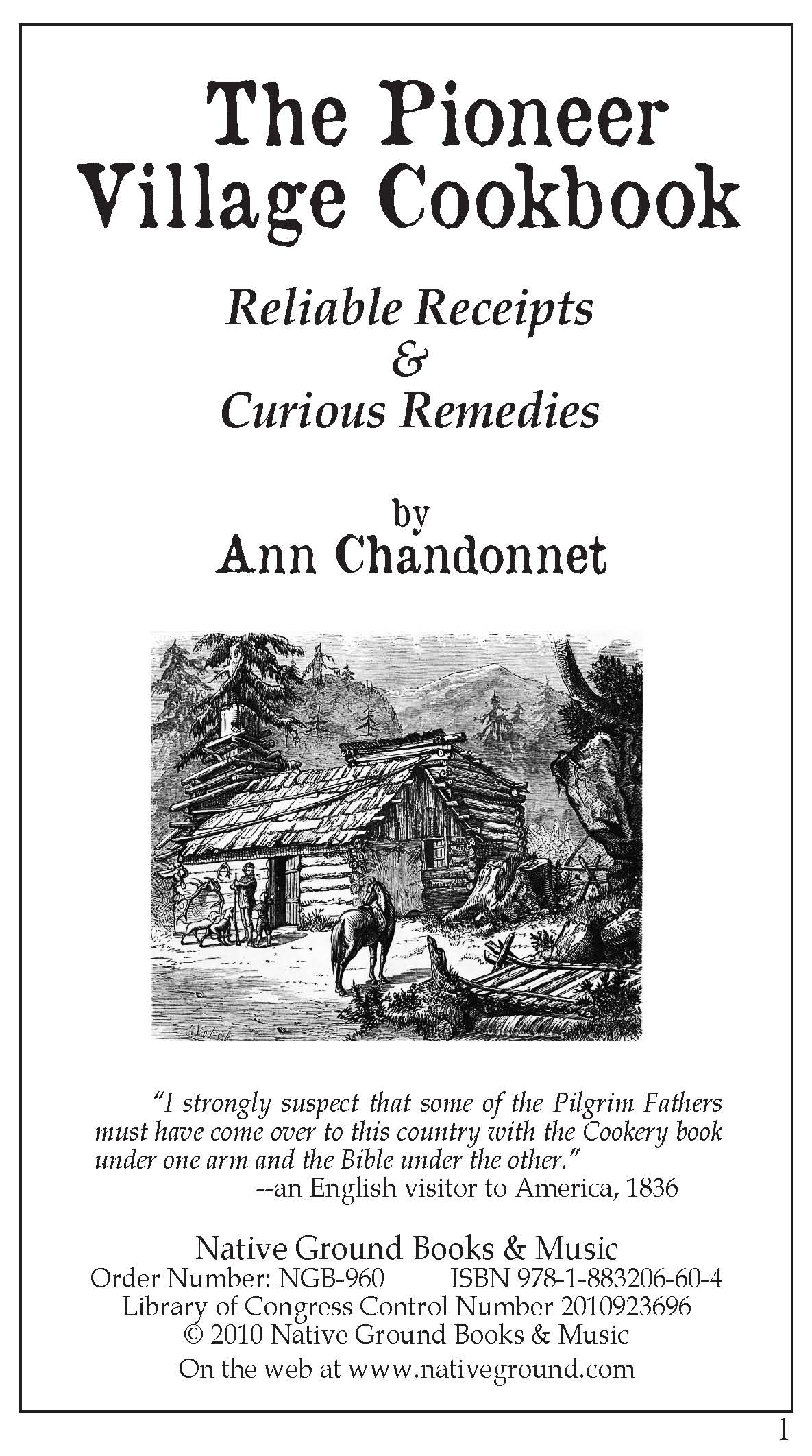 Pioneer Village Cookbook Book