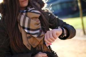Women checking her watch