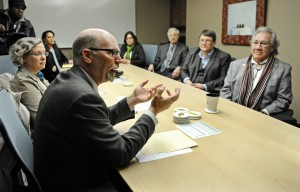 Officials from NDSU and Sisseton Wahpeton College recently signed a memorandum of understanding aimed at meeting the needs of American Indian students. Sisseton Wahpeton College President Harvey DuMarce is pictured at the far right.