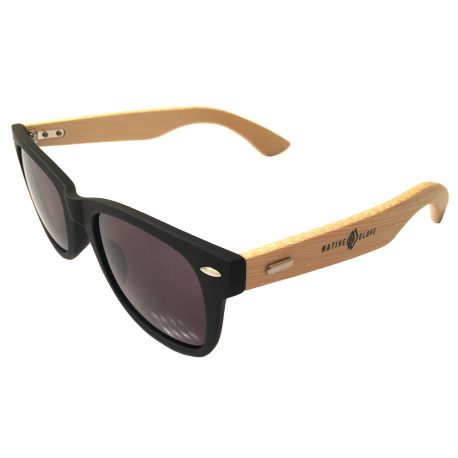 Native Slope Wayfarer Sunglasses - Black & Bamboo Frame - Gray Lens