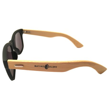 Native Slope Wayfarer Sunglasses - Black & Bamboo Frame - Gray Lens