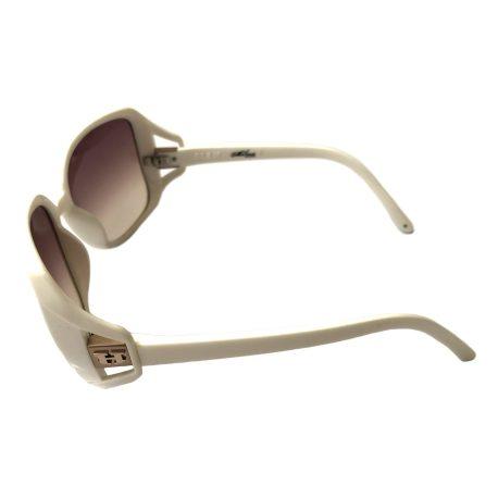 Hoven Vision Glam Sunglasses - Shiny White Frame - Brown Fade Lens