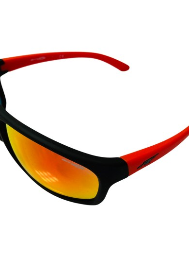 Arnette Burnout Sunglasses - Fuzzy Black Frame - Red Multilayer Lens