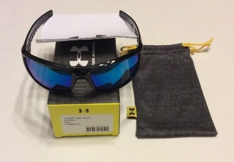 Under Armour UA Assert Sunglasses - Shiny Black Multicolor Frame - Blue Lens