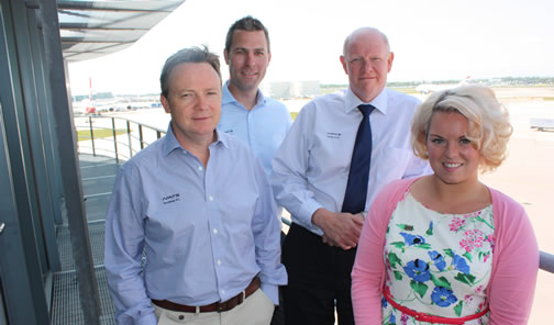 Jon with NATS team members Dave Marshall, Ady Dolan and Steph Kelly who also feature on Airport Live