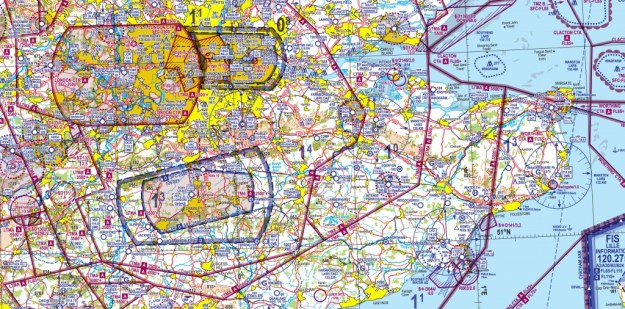 An extract of the Visual Flight Rules chart for Southern England.