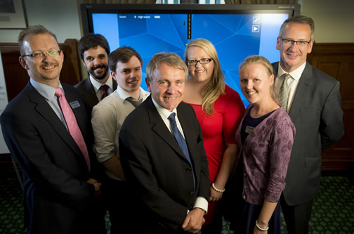 Aviation Minister, Robert Goodwill MP, with Mark Hoban MP, Richard Deakin and our trainee ATCOs