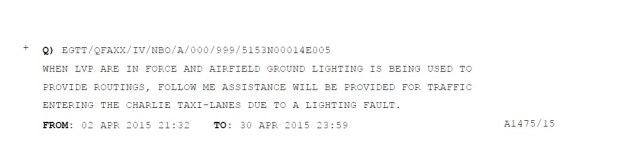 A NOTAM explaining assistance to be given to aircraft on a taxi-way due to a lighting fault