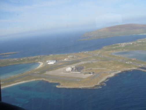 Sumburgh Airport from the Coastguard helicopter looking North West