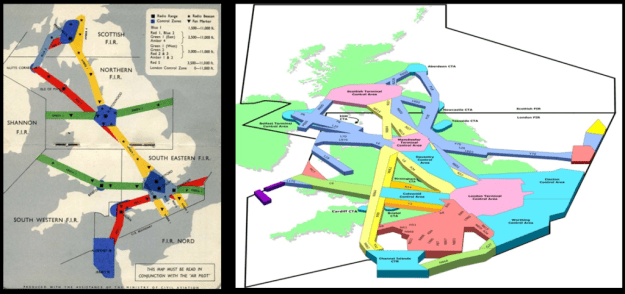 UK airspace as it was in 1952 and today.