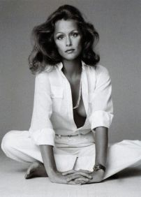 Lovely Lauren Hutton in a menswear button down shirt