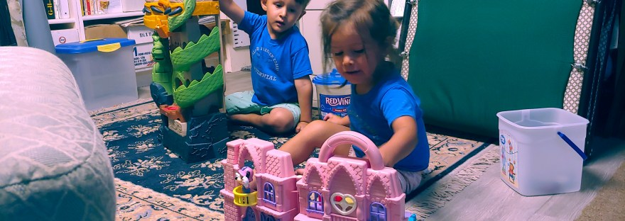 Boy playing with dragon castle vs. girl playing with pink house