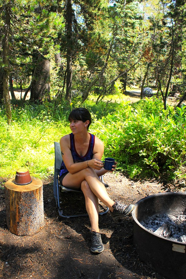 hanging around the campsite with coffee