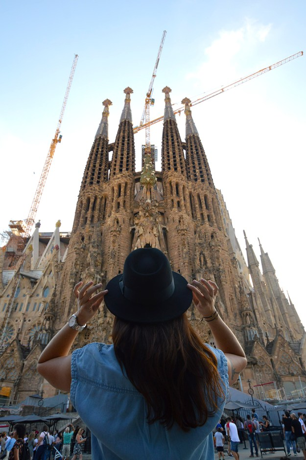 admiring the majesty of the Sagrada Familia