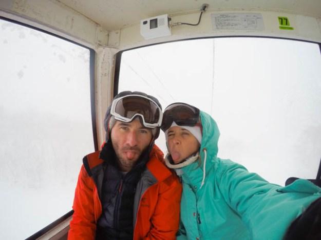 Riding the Gondola at Annupuri Ski Area, Niseko Japan