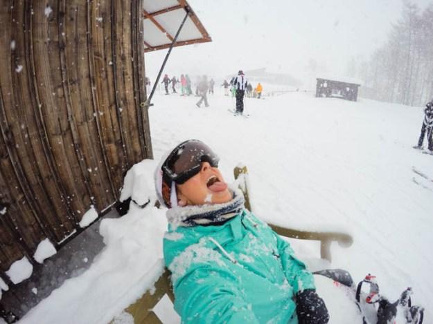 eating snow in Niseko