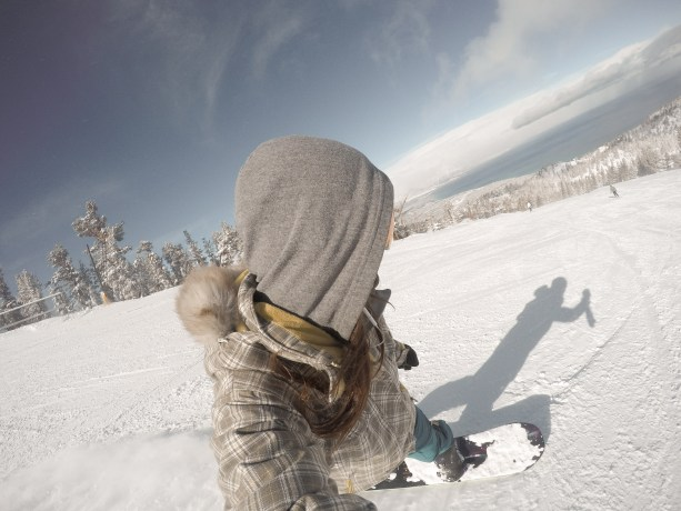 snowboarding with a view