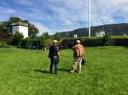 Gard Frostad Knudstad og Tryggve Fett inne på Fredriksberg festning