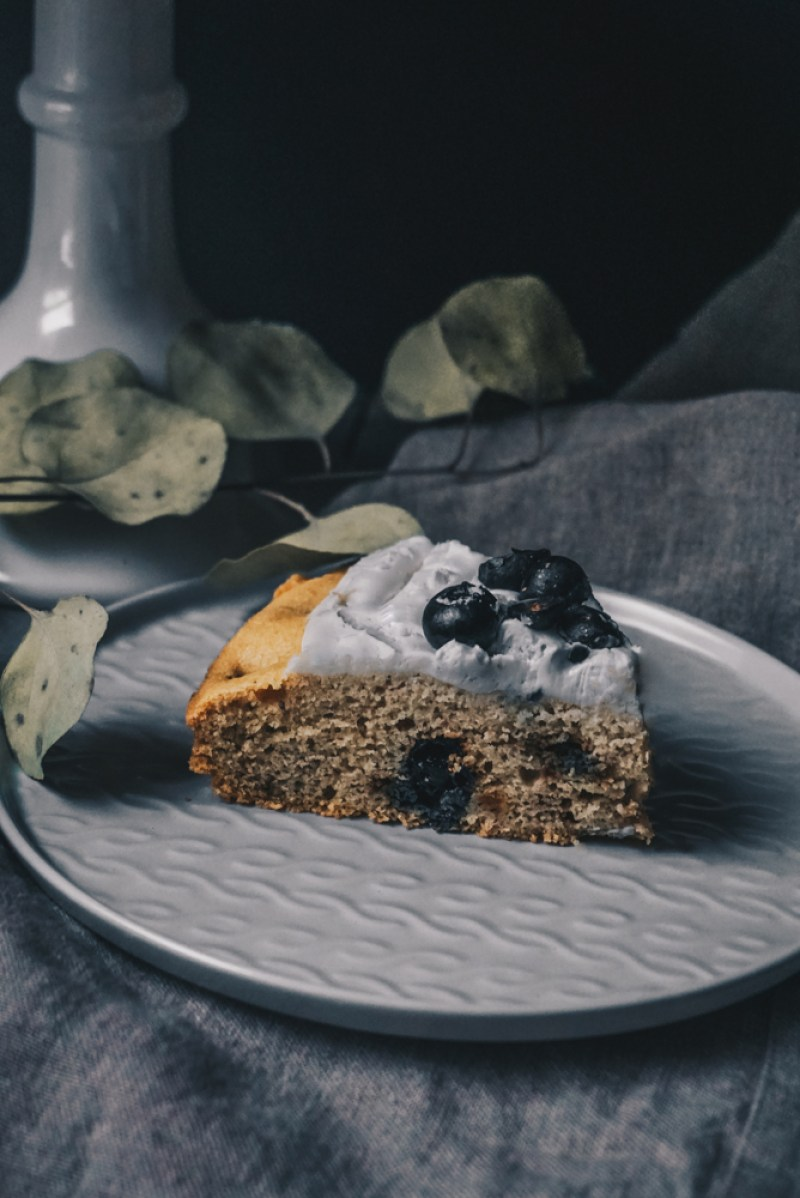 Paleo Blueberry Cake with Creamy Coconut Frosting