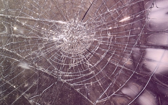 shattered glass in place