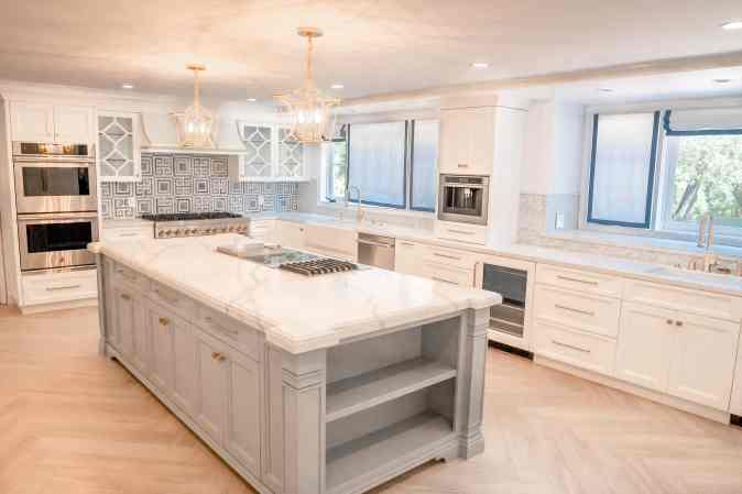 photo of kitchen island marble countertop