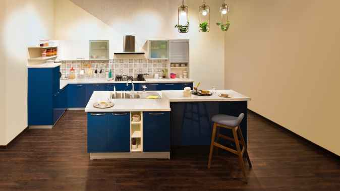 blue kitchen with narrow slabs