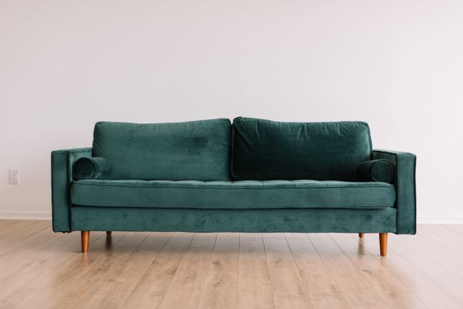 double sofa green fabric image