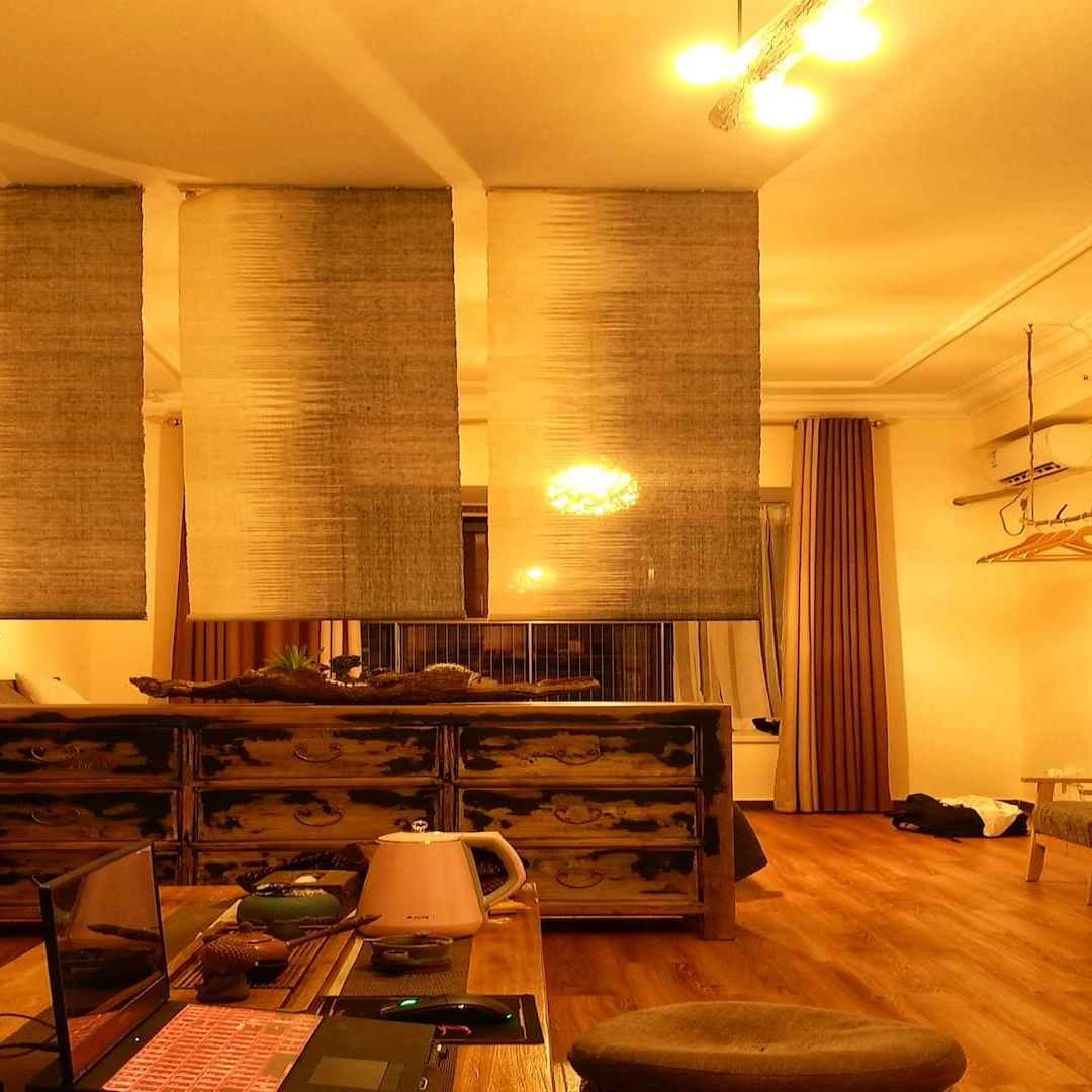 image of a yellow lit room with decor elements