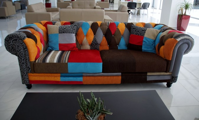 multi colored sofa