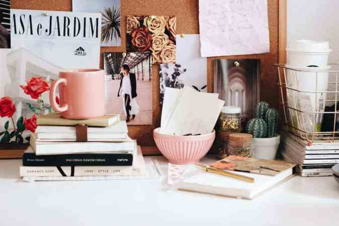 image of a cluttered desk in your home office when you are working from home.