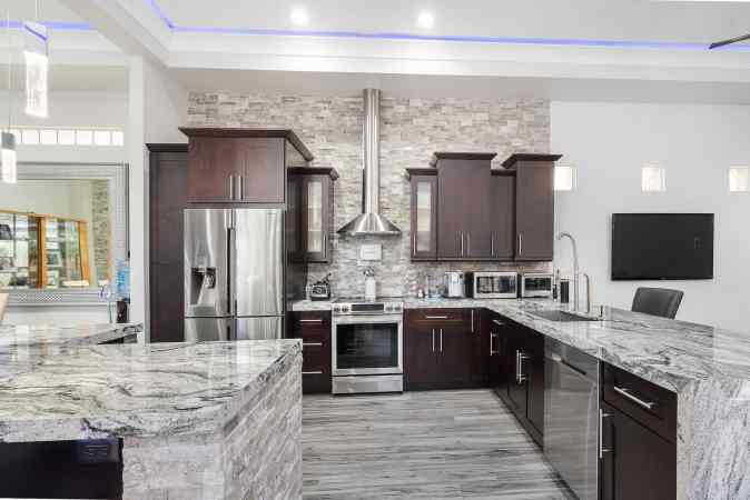 modular kitchen grey marble