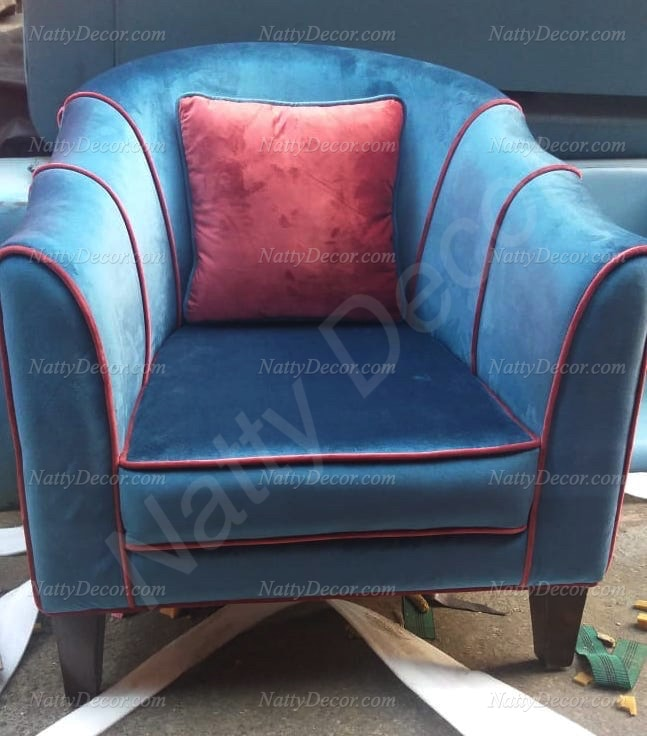 image of sofa chair blue red