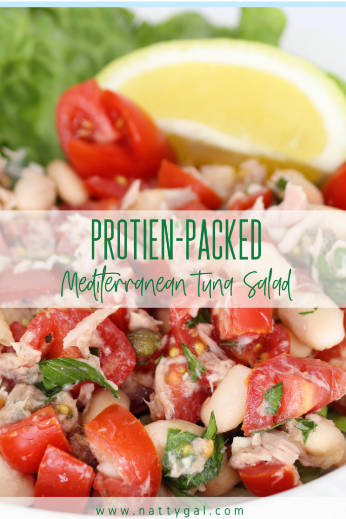 This protein-packed Mediterranean tuna salad is a summer favorite!  Add a glass of rosé and be transported to the quaint harbor at Mykonos.