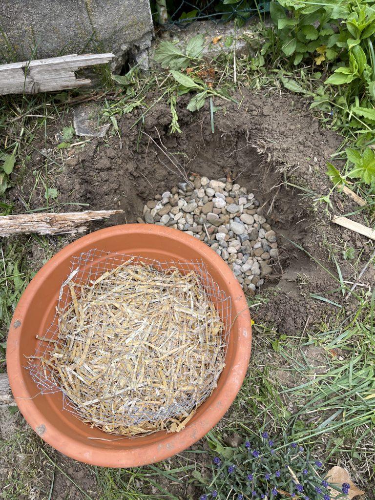 Fülle den Tomtopf etwa zur Hälfte mit Stroh.