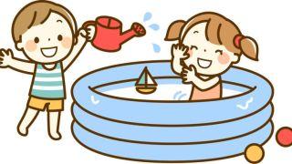 水遊びする子供のイラスト