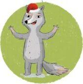 Wolf mit Mütze Illustration