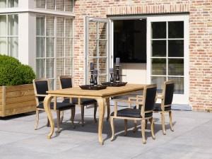 Calais chair with calais table 200x100cm old teak outdoor dining table chair
