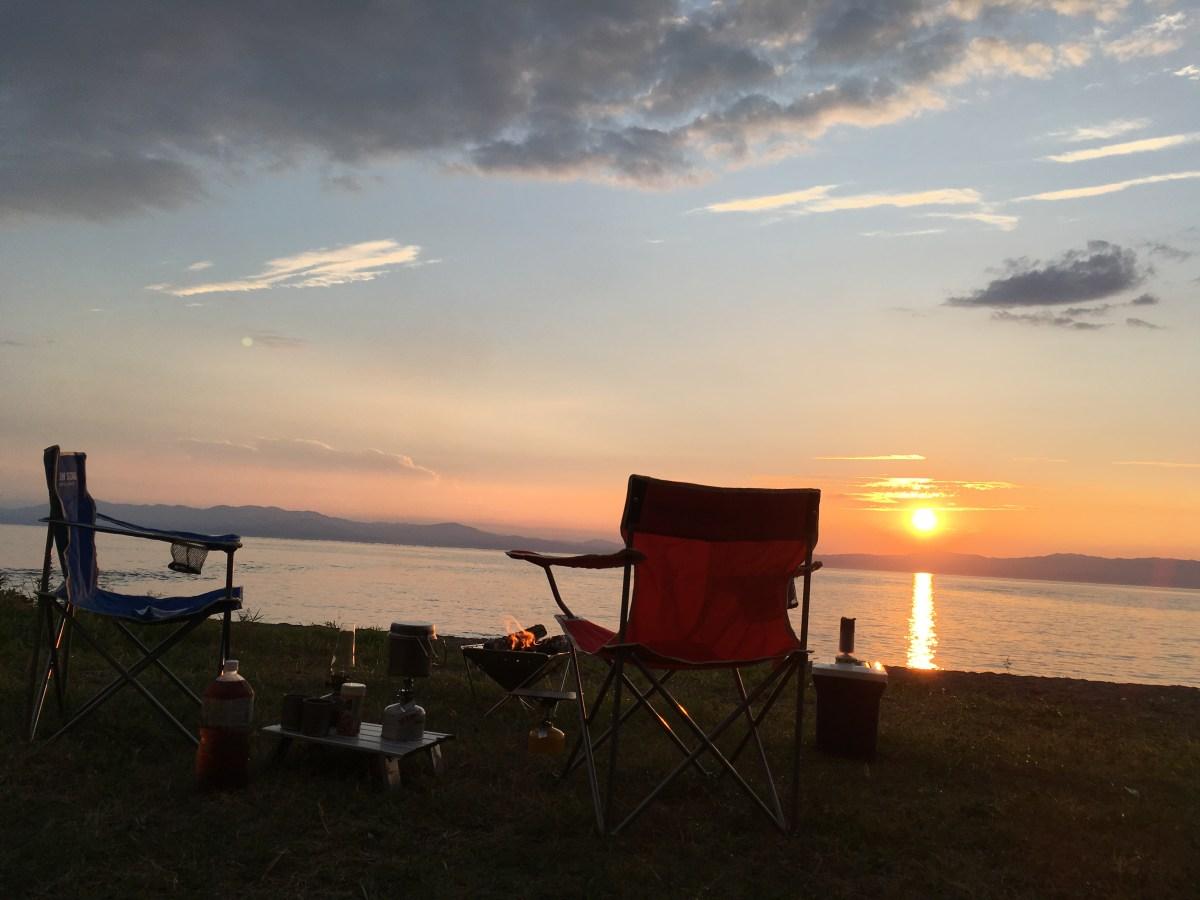 夕日が綺麗な湖畔キャンプ(滋賀県・琵琶湖)宇賀野神明キャンプ場