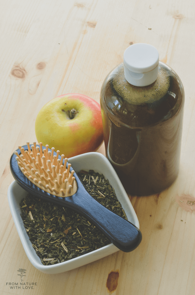 Cleansing Nettle Hair Rinse - An herbal rinse for clarifying hair, made with nettles, soap nut, and shikakai