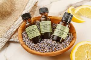 Essential Oils in a bowl full of lavender
