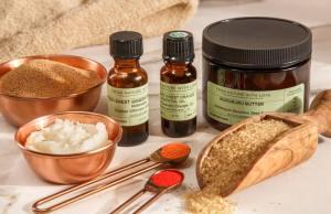 Ingredients for Gardener's Foaming Hand Scrub - Murumuru Butter, Walnut Shell Powder, Turbinado Sugar, Essential Oils, Jojoba Wax Beads
