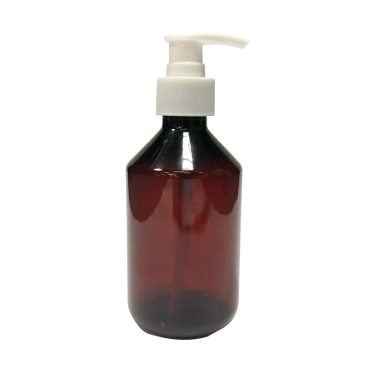 28mm Amber Veral Plastic bottle with 28mm lotion pump right