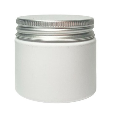 50ml white plastic jar suitable for cosmetic and skincare use shown with aluminium closure / lid