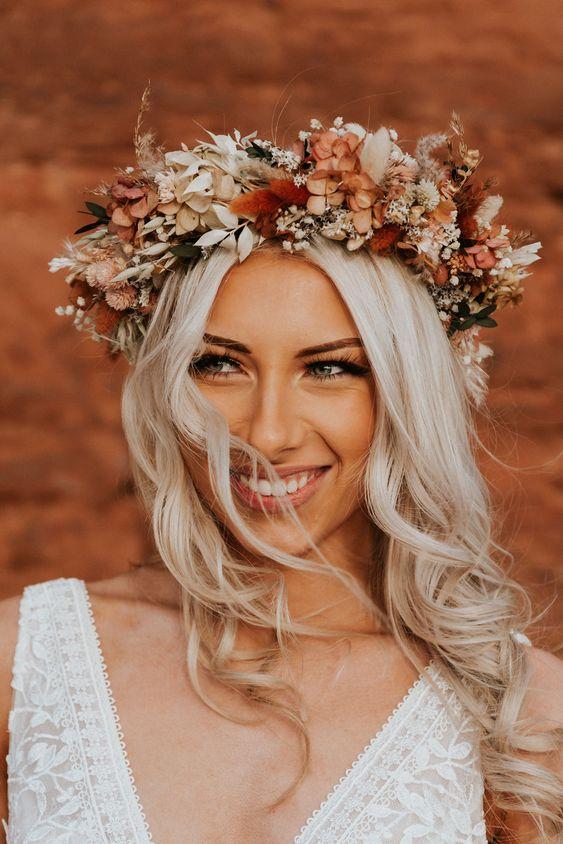 Diadema de flores para novia