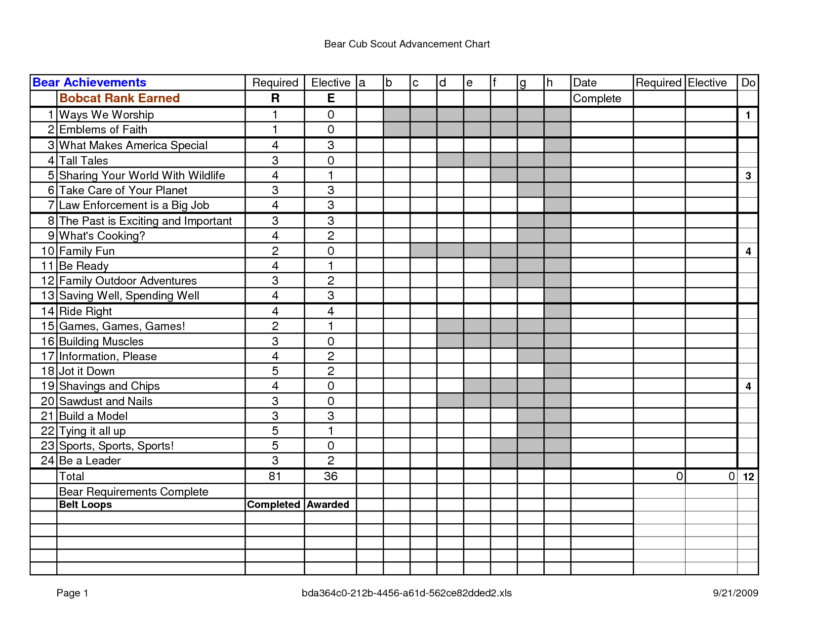 Boy Scout Tracking Spreadsheet