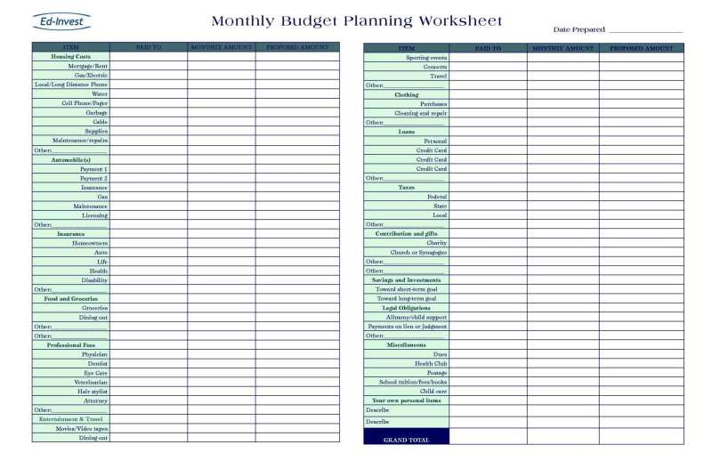 personal monthly budget calculator