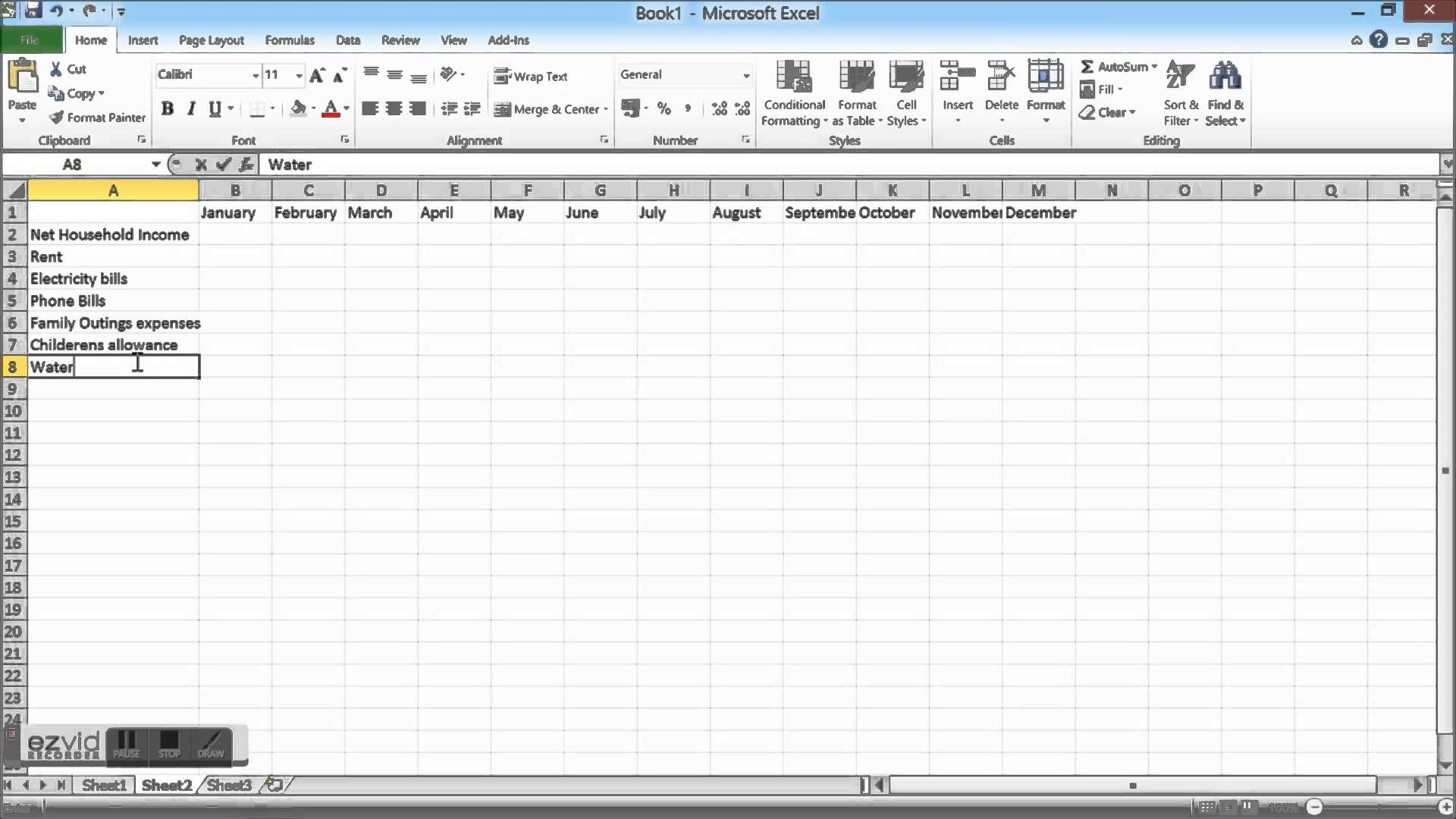 Household Cash Flow Spreadsheet
