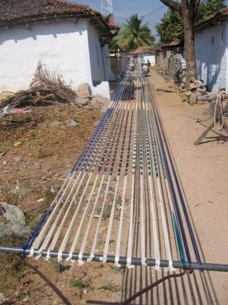 dyed warp threads